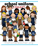 Little Learners Clipart- School Uniforms White, Khaki and Navy