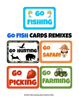 Little Learning Labs - 5 Go Fish Games - Safari Fruits Veg