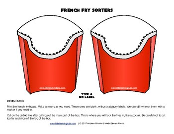 Little Learning Labs - French Fry Sorters - Sorting Tool for Centers Activities