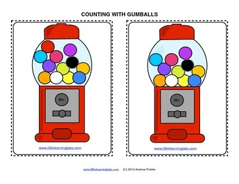 Little Learning Labs Gumball Machine Theme Counting Activity Math Center 0 to 15