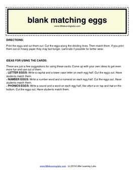 Little Learning Labs - Matching Eggs - Blank