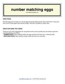 Little Learning Labs - Matching Eggs - Numbers
