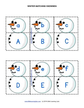 Little Learning Labs - Matching Snowmen - Letters