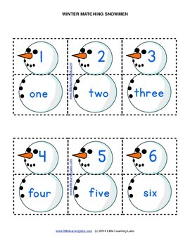 Little Learning Labs - Matching Snowmen - Numbers