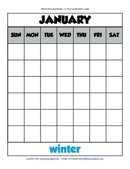 Little Learning Labs - Penguin Theme Calendar - Fill in your own dates holidays