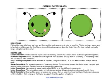 Little Learning Labs Primary Prek Pattern Caterpillars