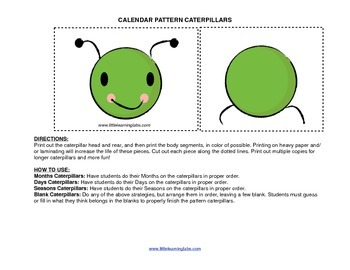 Little Learning Labs Primary Prek Pattern Caterpillars Mon