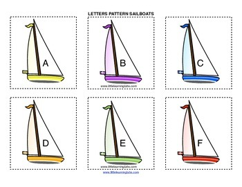 Little Learning Labs Primary Prek Pattern Sailboats - Letters and Alphabet