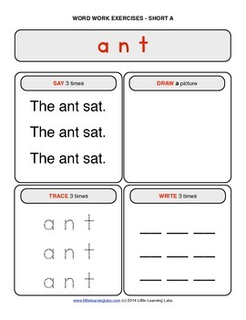 Little Learning Labs - Short Letter A Word Work