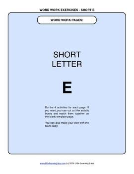 Little Learning Labs - Short Letter E Word Work