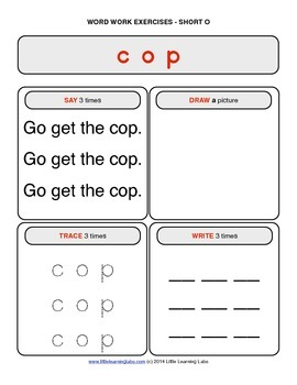 Little Learning Labs - Short Letter O Word Work