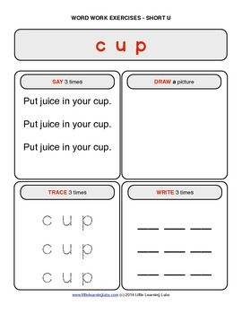 Little Learning Labs - Short Letter U Word Work