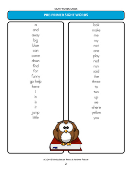 Little Learning Labs - Sight Words Cards 220 Words Plus 95 Nouns