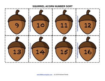 Little Learning Labs - Squirrel Acorn Sorting Activity - Sorting Numbers
