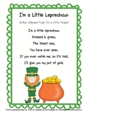 Little Leprechaun Song and Poetry Journal Page and Pocket Chart