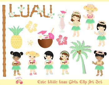 Little Luau Girls Clipart Set