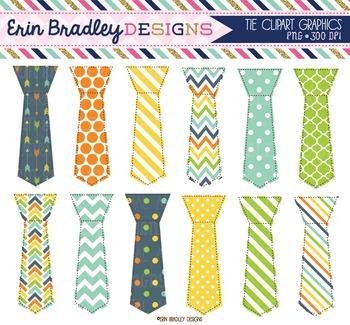 Little Man Tie Clipart Graphics Polka Dots Stripes & Chevr