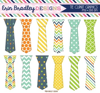 Little Man Tie Clipart Graphics Polka Dots Stripes & Chevron Patterns