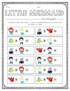 Disney Inspired Little Mermaid Roll and Graph Activity