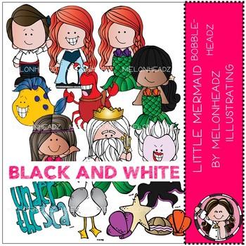 Little Mermaid clip art - Bobbleheadz - BLACK AND WHITE - Melonheadz clipart