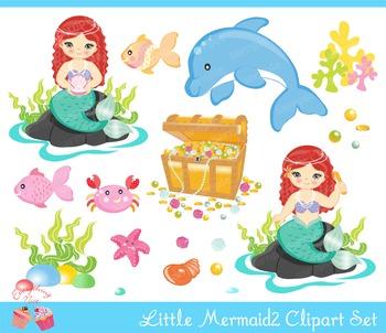 Little Mermaids 2 Clipart Set