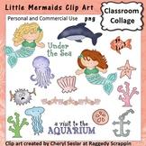 Little Mermaids - Color - pers & comm ocean dolphin sea shells octopus C Seslar