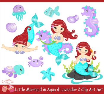 Little Mermaids in Aqua and Purple Clipart Set