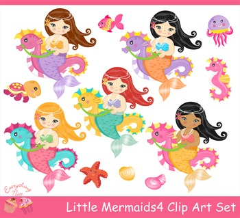Little Mermaids 4 Clipart Set
