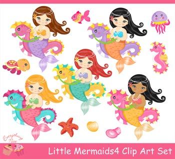 Little Mermaids 4 Clipart Set