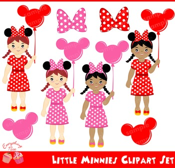Little Minnies Minnie Mouse Girls Clipart Set