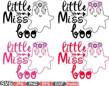 Little Miss Boo Silhouette ghost Ghoul Halloween trick or treat clipart SVG 50sv