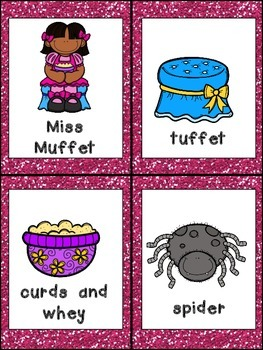 Little Miss Muffet Book, Poster, & MORE - Preschool Kindergarten Nursery Rhymes