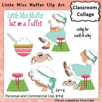 Little Miss Muffet Clip Art - Color - pers & comm Nursery Rhyme T Clark