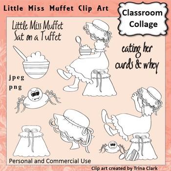 Little Miss Muffet Clip Art - line drawing - pers & comm Nursery Rhyme T Clark