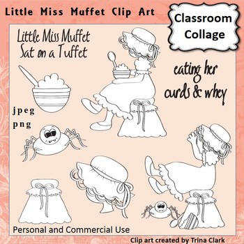 Little Miss Muffet Clip Art - line drawing - pers & comm N