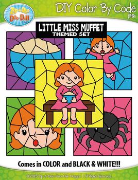 Little Miss Muffet Color By Code Clipart {Zip-A-Dee-Doo-Dah Designs}