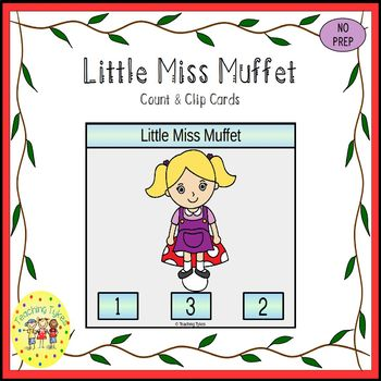 Little Miss Muffet Count and Clip Task Cards