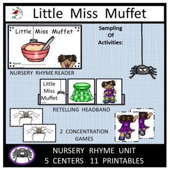 Little Miss Muffet Nursery Rhyme Literacy Centers for Emer