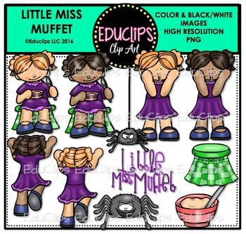 Little Miss Muffet Nursery Rhyme Clip Art Bundle {Educlips Clipart}