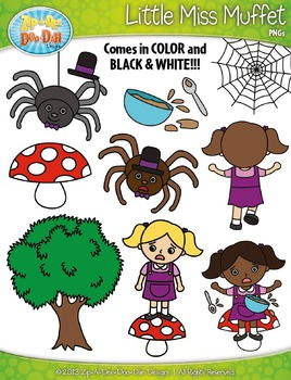 Little Miss Muffet Nursery Rhyme Clipart {Zip-A-Dee-Doo-Dah Designs}