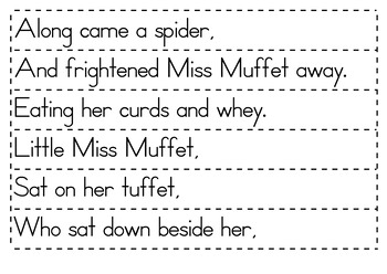 Little Miss Muffet Nursery Rhyme packet