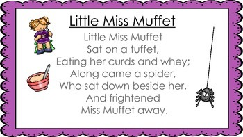 Little Miss Muffet Nursery Rhyme with Plans and Activities