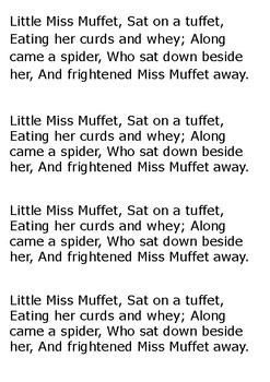 Little Miss Muffet Word Search