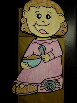 Little Miss Muffet nursery rhyme paper bag puppet