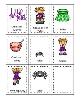 Little Miss Muffet themed Three Part Matching preschool printable activity.