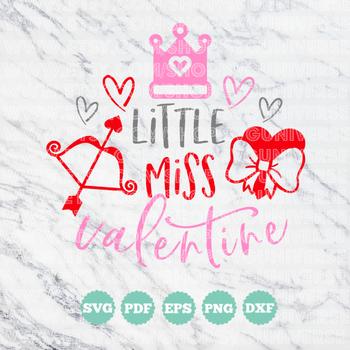 Little Miss Valentine | SVG Vinyl Cutting Files - Dxf - Eps - SVG - Pdf