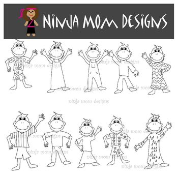 Little Monkey Clip Art in Color and Black and White