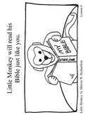 FREE: Little Monkey color pages Christian Children's Book Sheets