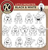 Little Monster - Black & White for Coloring! - Digital Graphics Pack