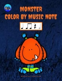 Little Monster Color By Music Note Rhythm Coloring - Half Note